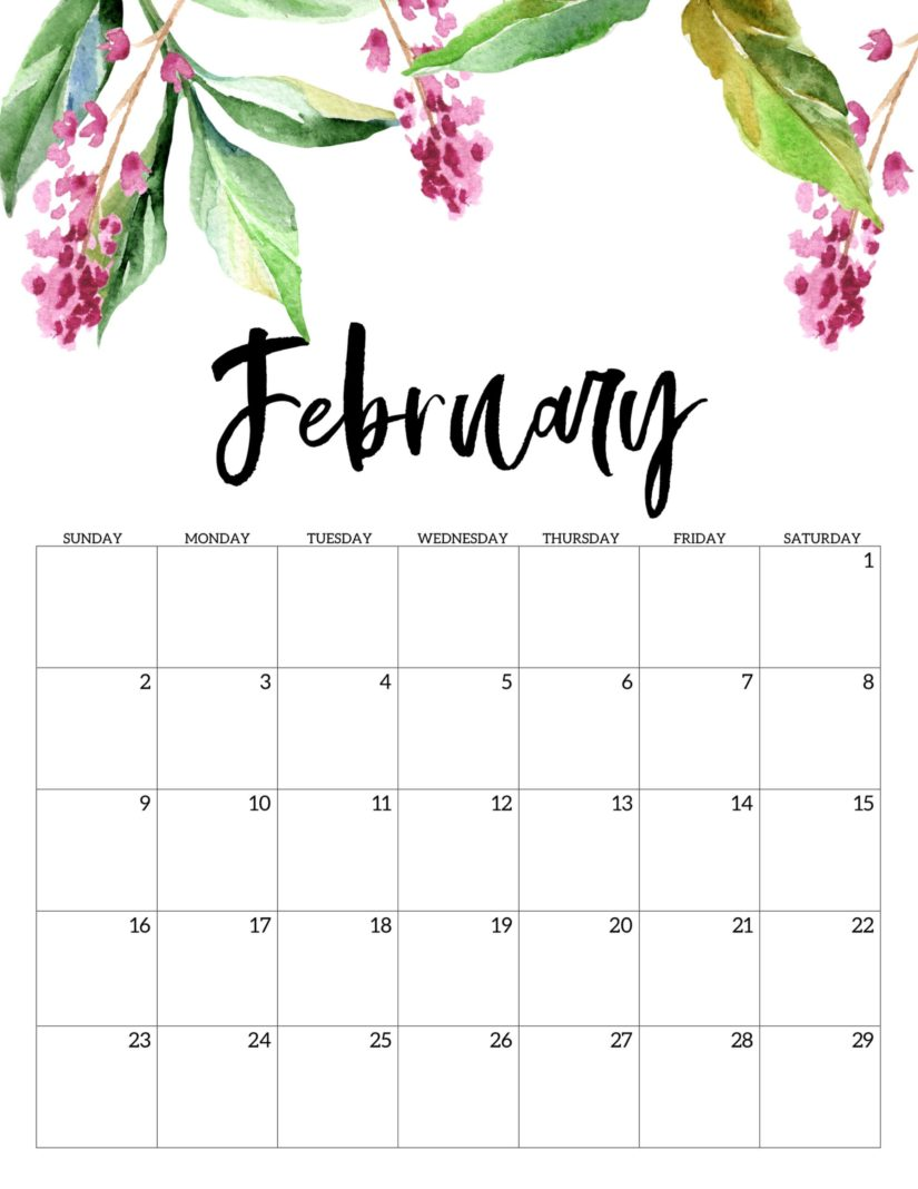 30 Free February 2020 Calendars For Home Or Office Onedesblog