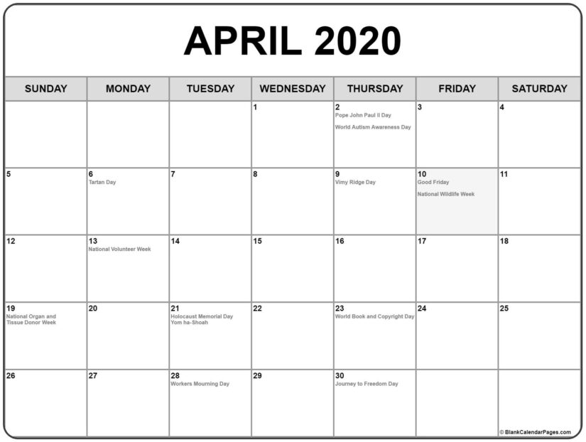 holidays in april 2020