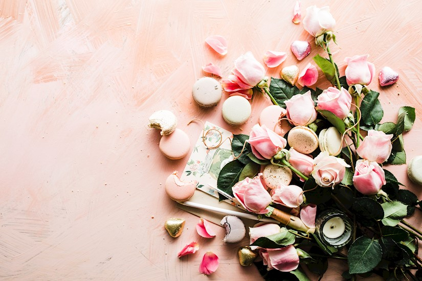 flat lay photography macaroons and pink rose flowers valentine image