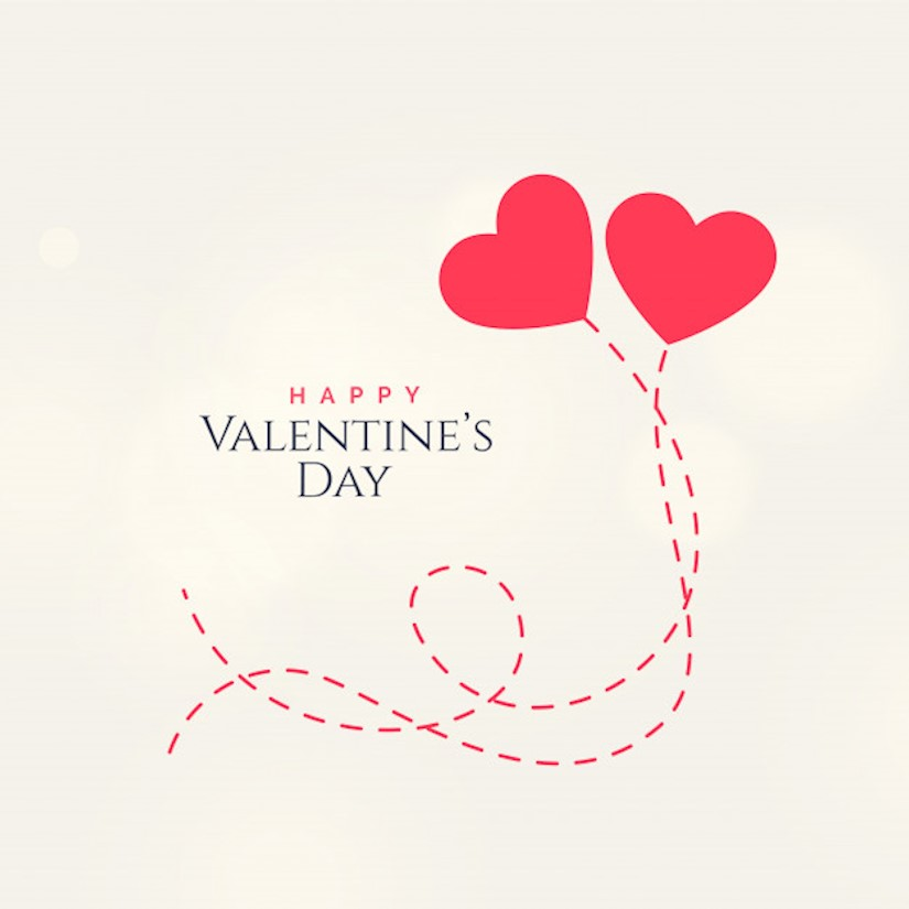 sweet valentines day card design with two floating hearts
