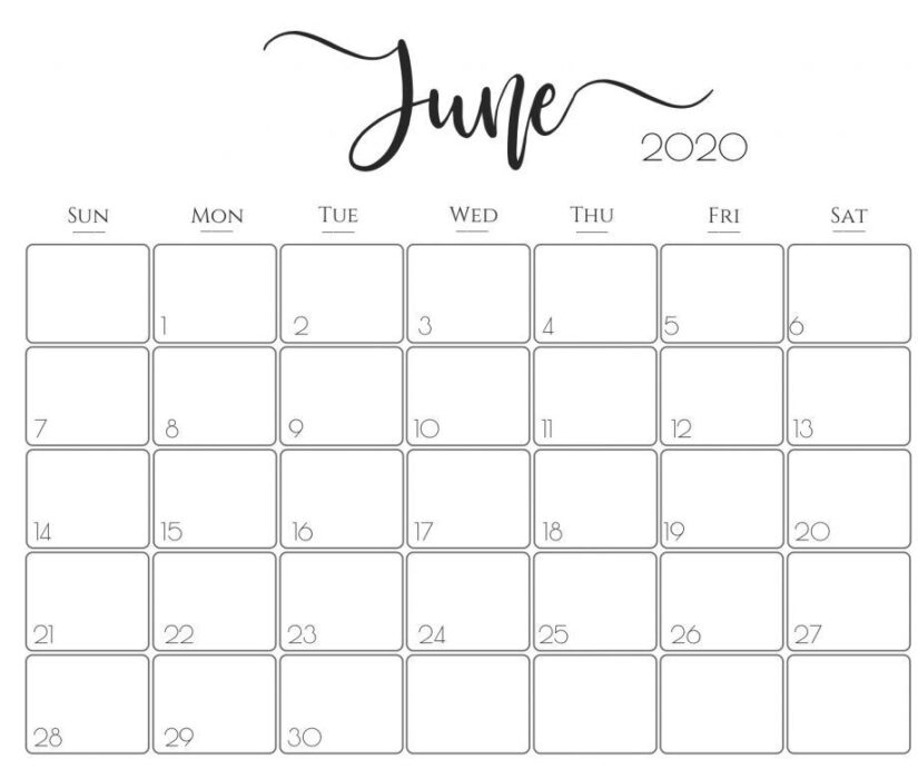 35 Best Printable June 2020 Calendars With Holidays