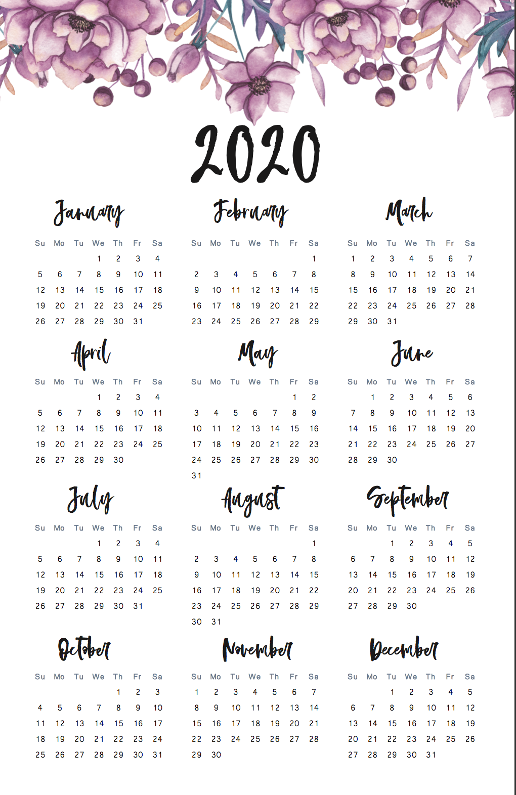 ANNUAL WALL PLANNER 2020 BIRTHDAYS HOLIDAYS SPECIAL OCCASIONS A3 A4 SIZE XMAS