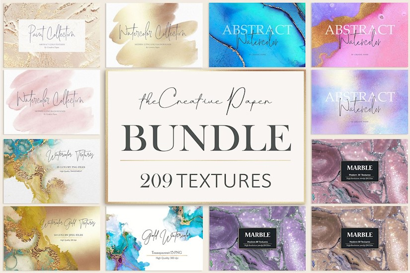 gold foil watercolor marble bundle