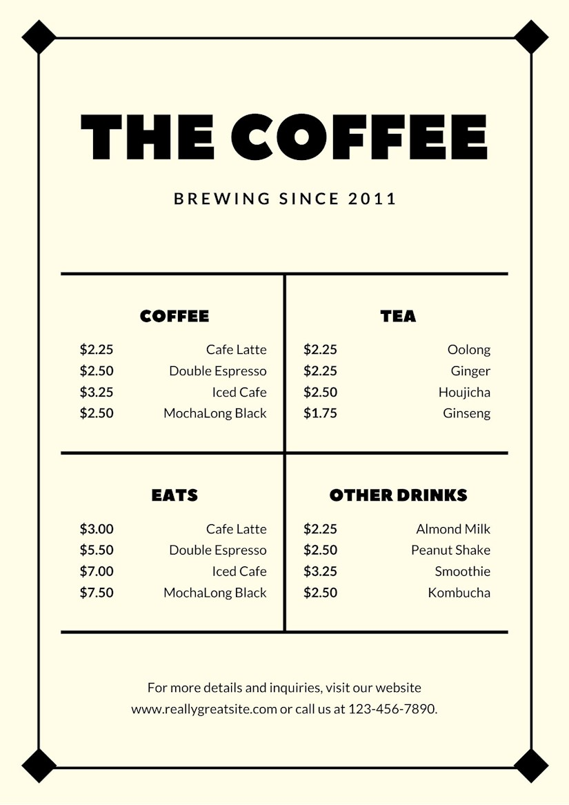 21 Best Menu Templates for Restaurants & Coffee Shops - Onedesblog Within Free Cafe Menu Templates For Word