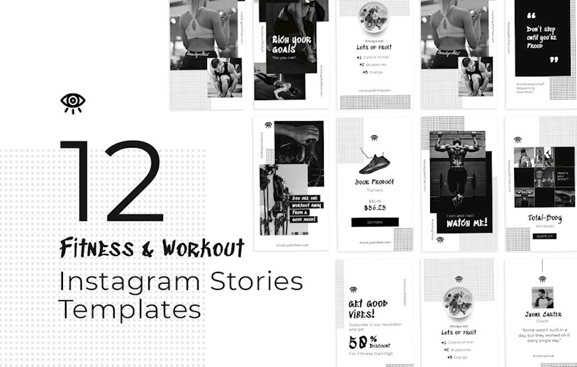 fitness workout instagram stories template