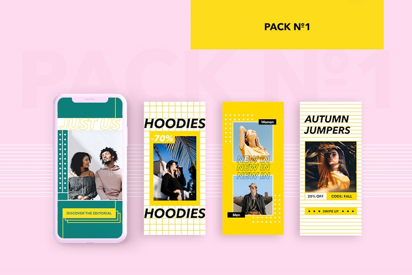free instagram templates yellow pinl