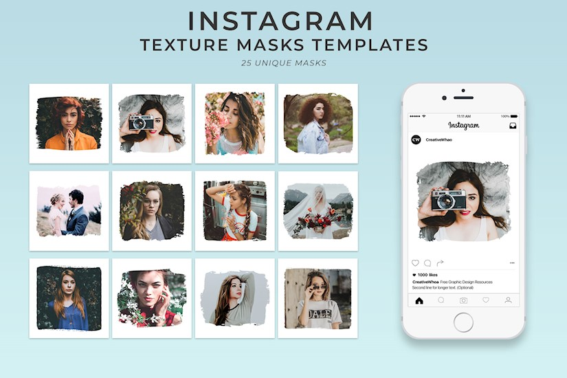 free textured instagram mask psd templates