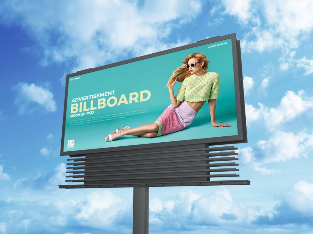39 free sky advertisement billboard mockup psd