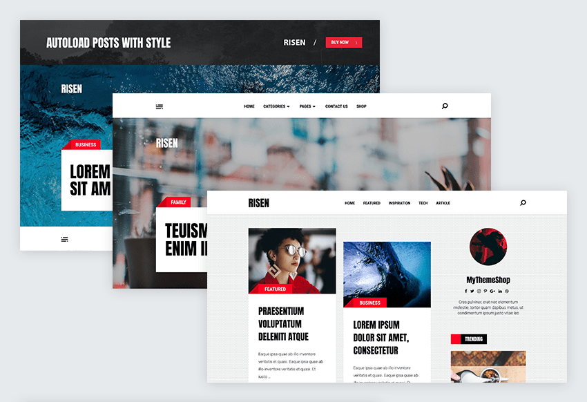 7 risen wordpress theme header