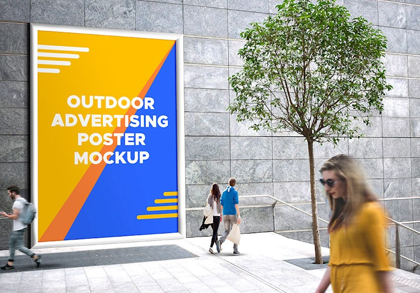 city outdoor advertising poster mockup psd