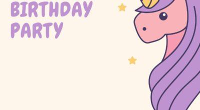3 Cream and Purple Cute Unicorn Invitation