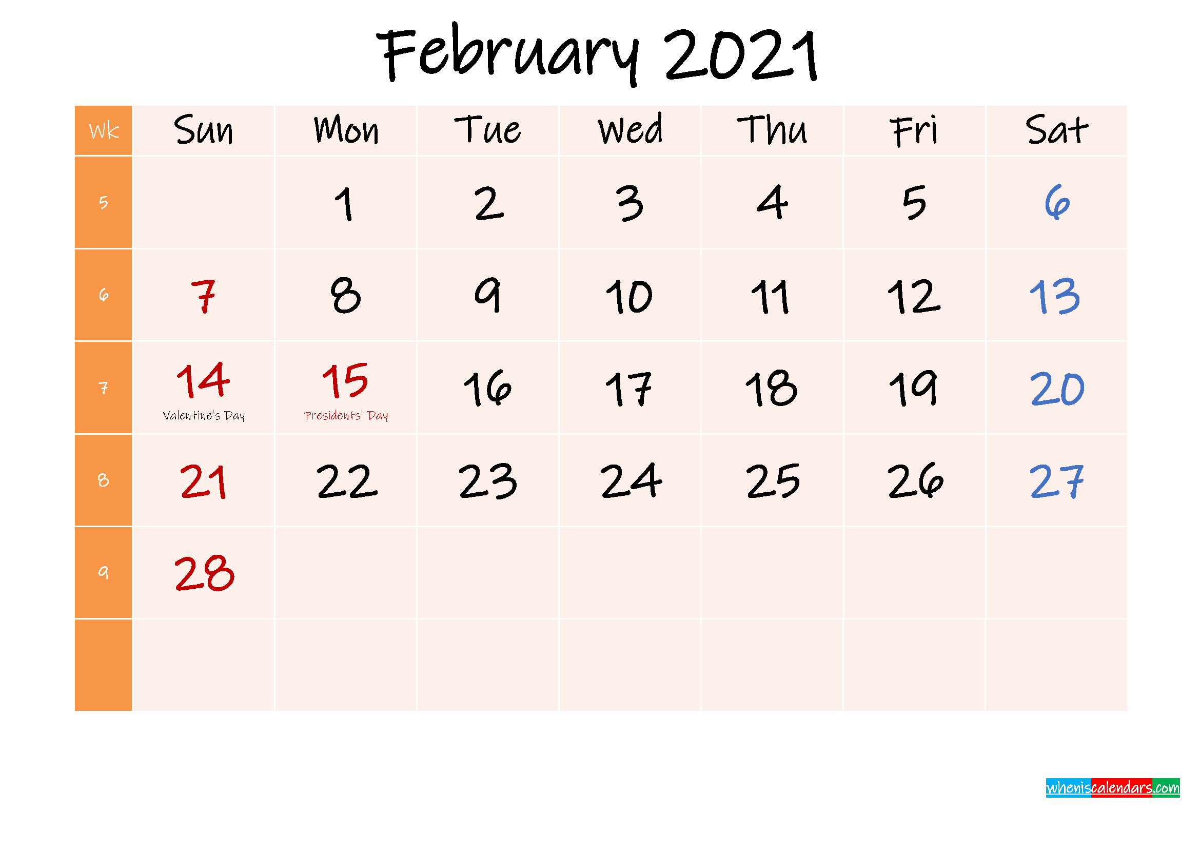 30 Free February 2021 Calendars for Home or Office ...