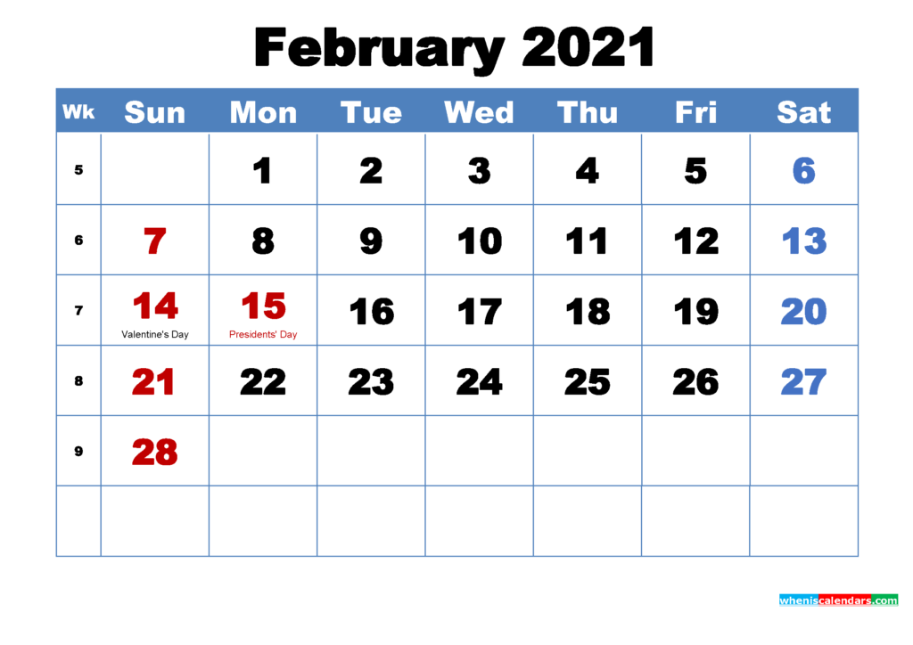 30 Free February 2021 Calendars for Home or Office   Onedesblog