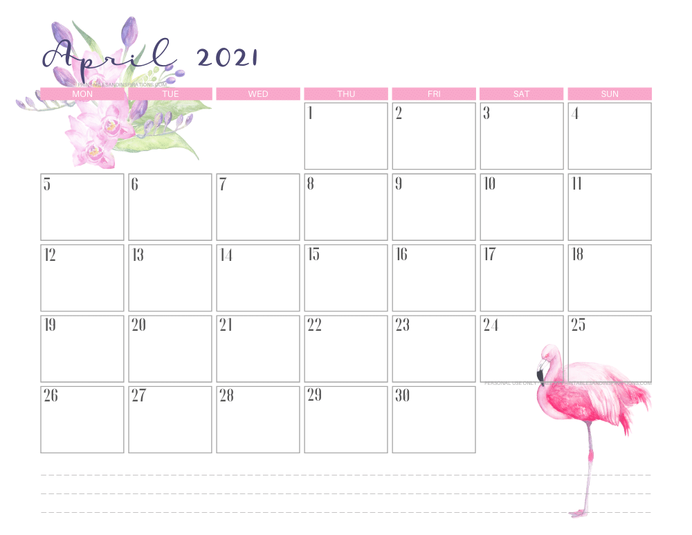 25 Best Free Printable April 2021 Calendars - Onedesblog