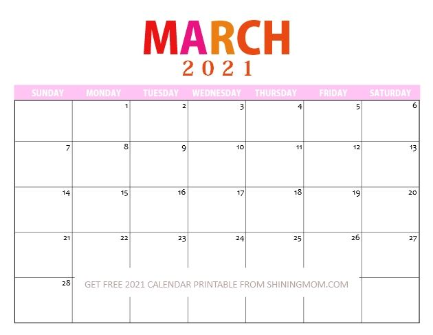 25 March 2021 Calendars You Can Download and Print