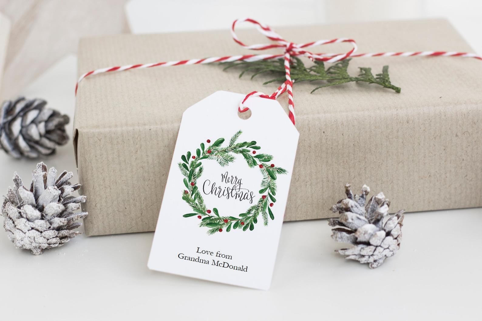 christmas wreath tag template rustic
