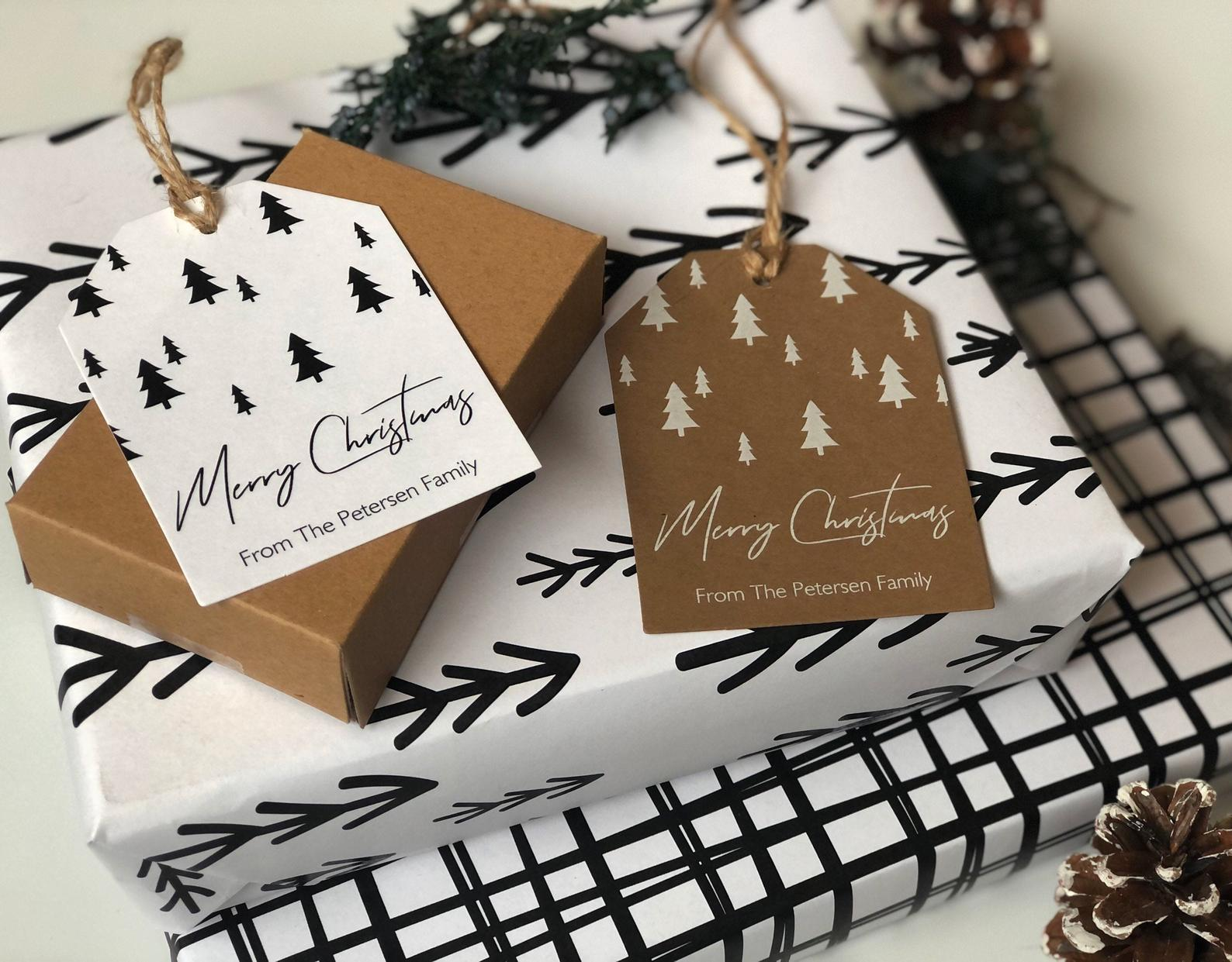 minimal christmas tags modern pine trees