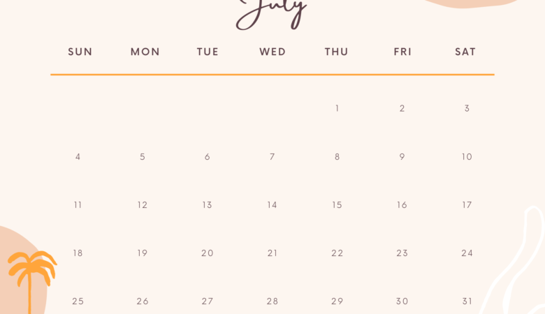 aesthetic july 2021 calendar