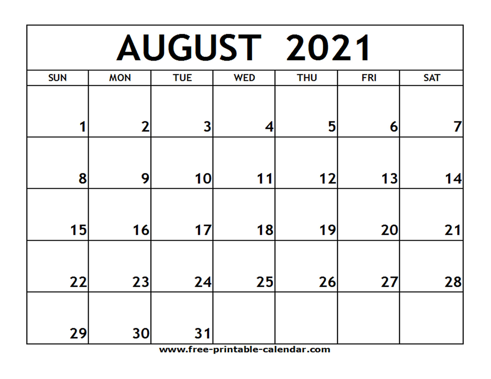 30 Beautiful Printable August 2021 Calendars for Free ...