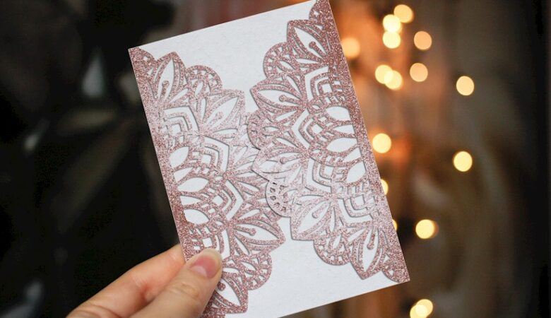 wedding card for paper cutting