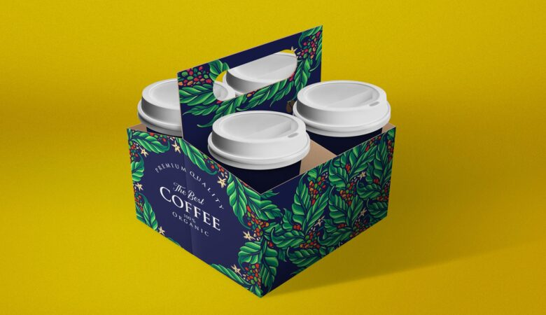 coffee cup holder mockup