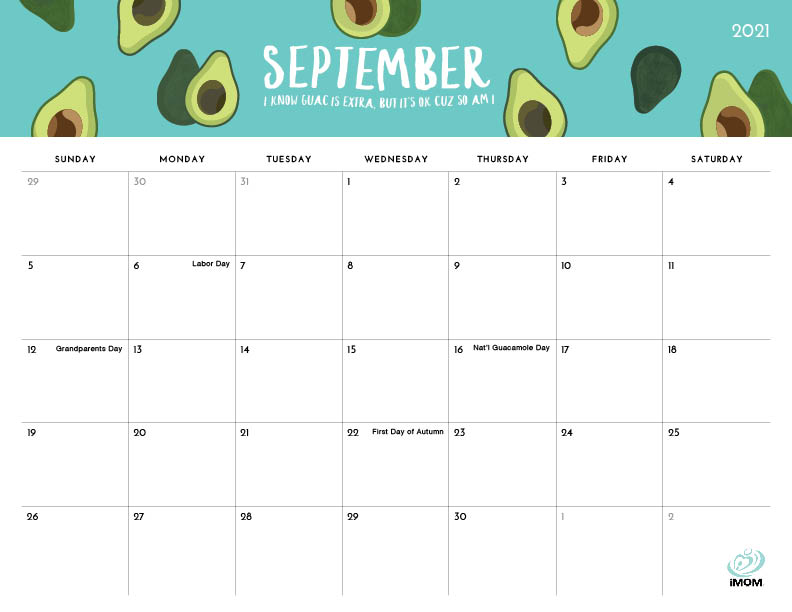 2021 foodie printable calendars for moms imom