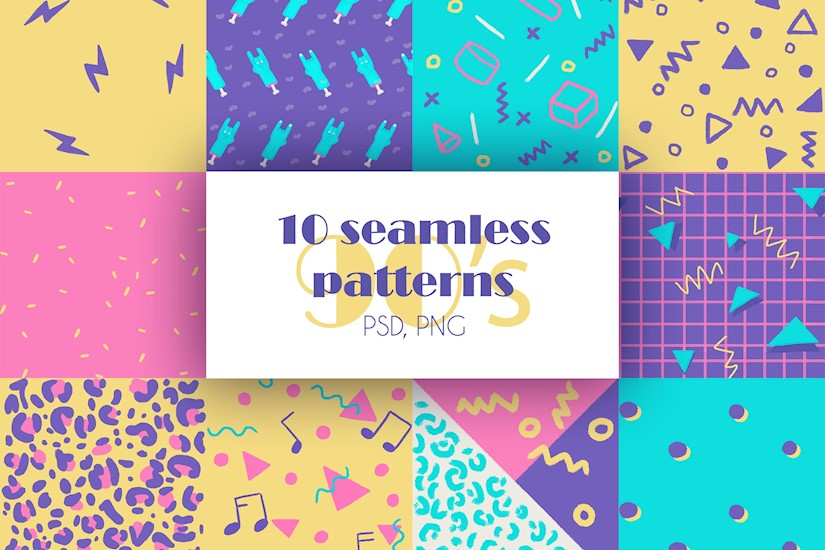 90s seamless patterns