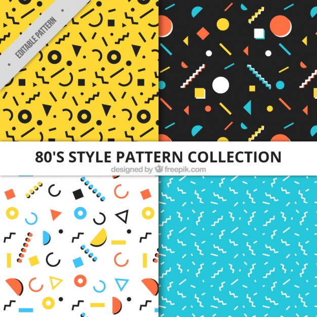collection four patterns with geometric elements flat design23 2147588401