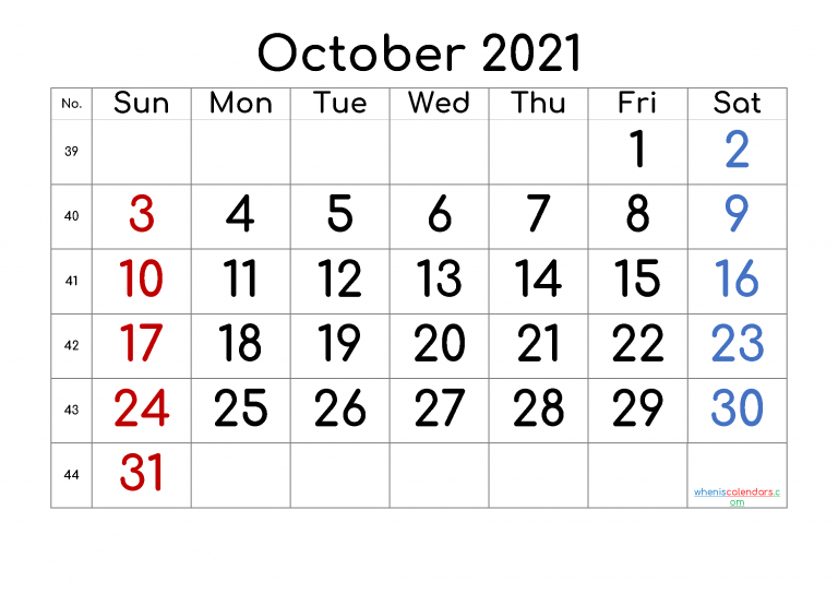47 Free Printable October 2021 Calendars with Holidays   Onedesblog
