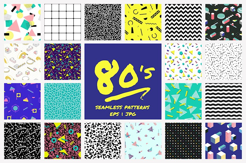 geometric 80s style patterns