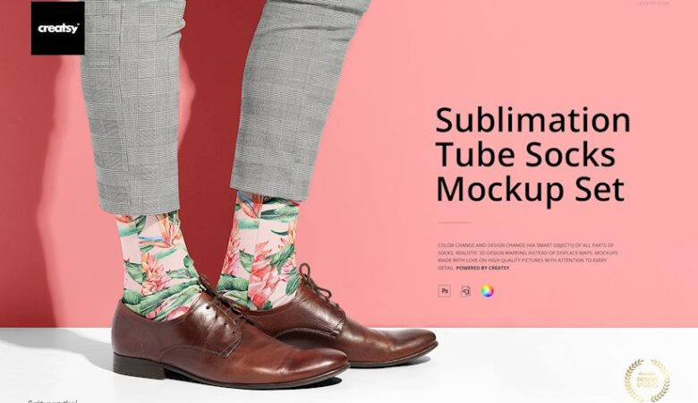 sublimation tube socks mockup set